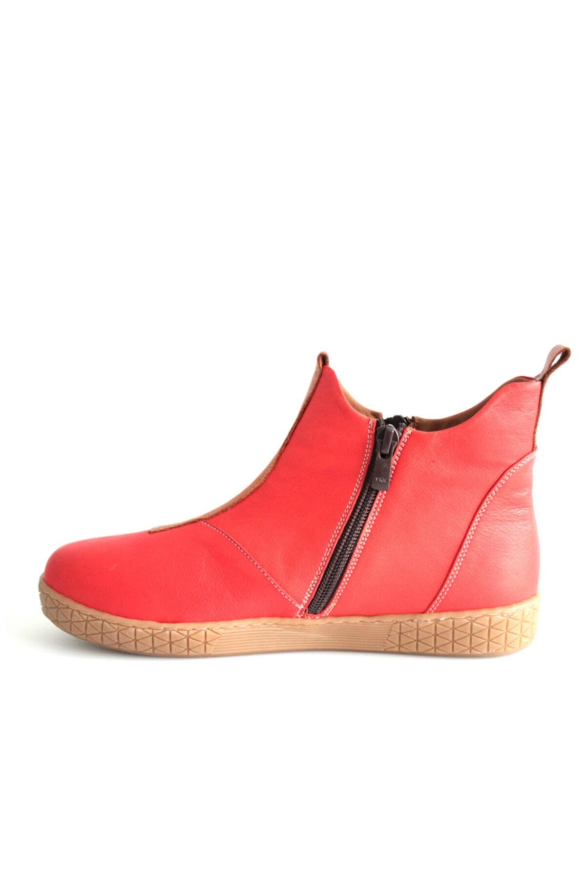 Beta Shoes Bot Hakiki Deri Kadın Kırmızı 2