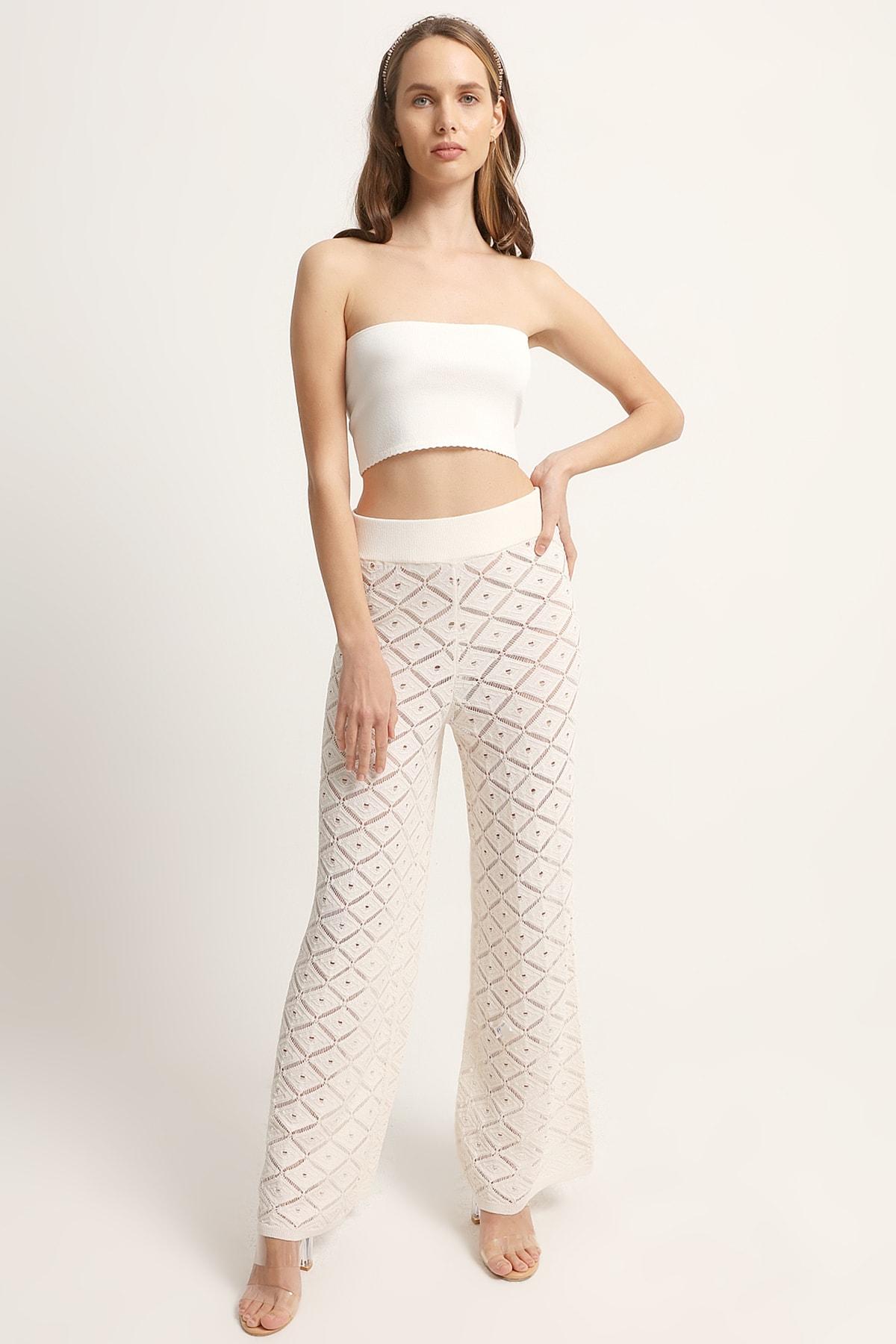 JOIN US Kadın Ekru Ajurlu Triko Pantolon 1