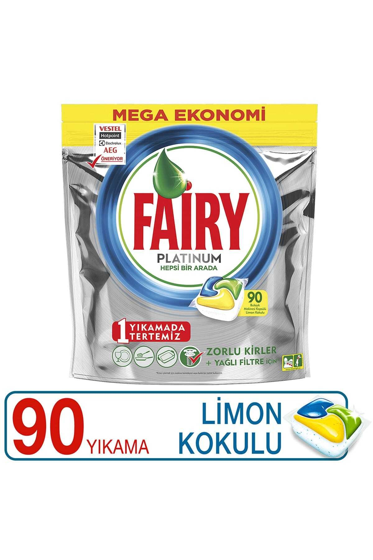 Fairy Platinum Limon Kokulu Bulaşık Makinesi Deterjanı Tablet 90 Yıkama 1