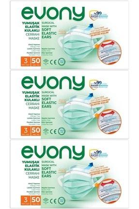 Evony 3 Katlı Filtreli Burun Telli Cerrahi Maske 150 Li Set (yumuşak Elastik Kulaklı)