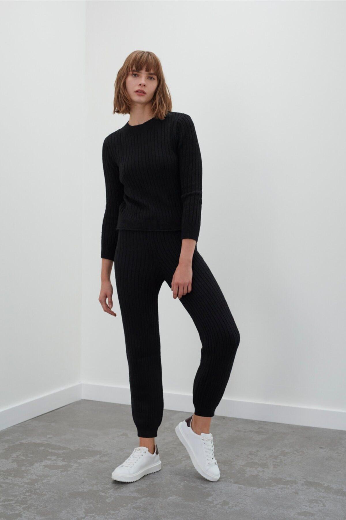 JOIN US Kadın Siyah Beli ve Paçası Lastikli Triko Pantolon 2