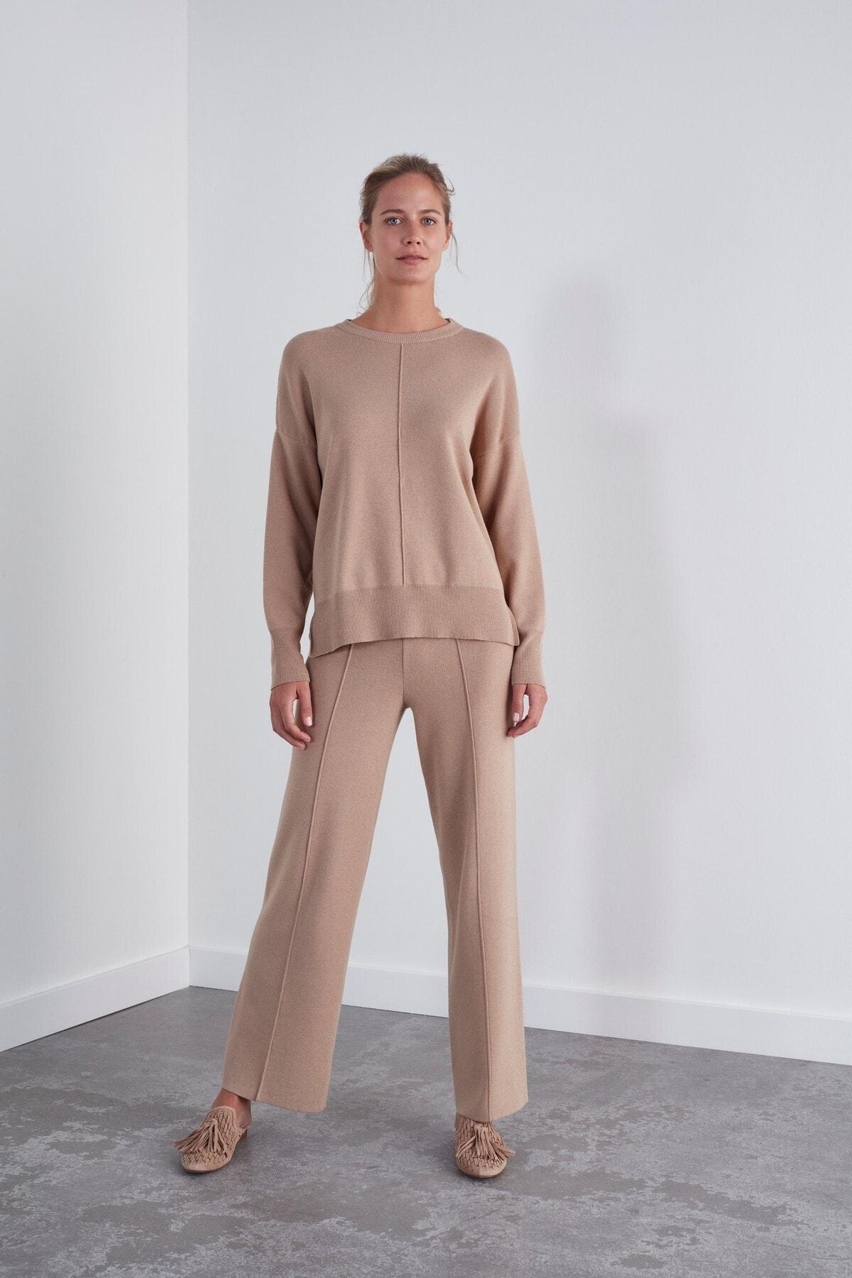 JOIN US Kadın Kahverengi Beli Lastikli Triko Pantolon 1