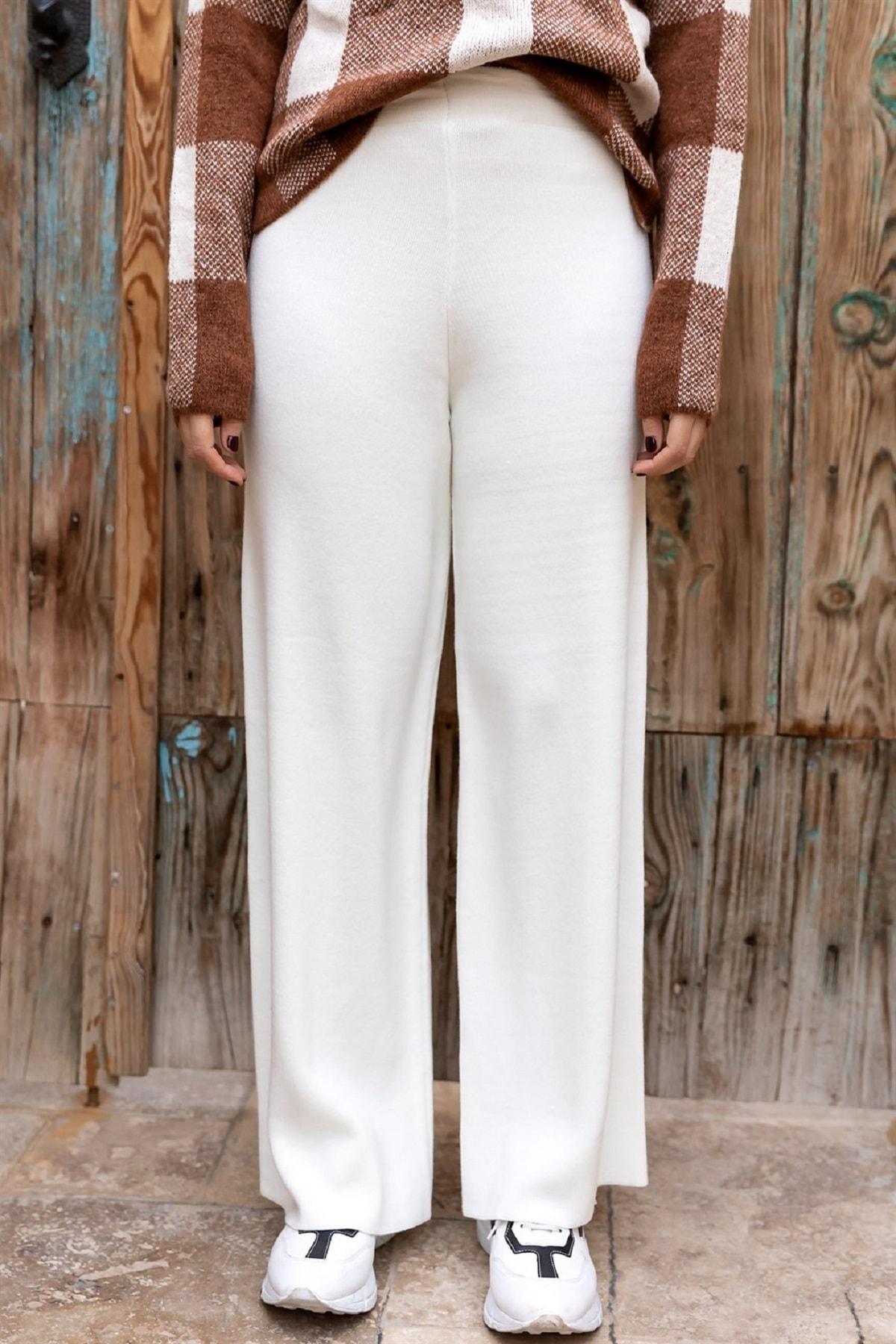 DreamModa Kadın Beyaz Triko Örme Yünlü Pantolon 1