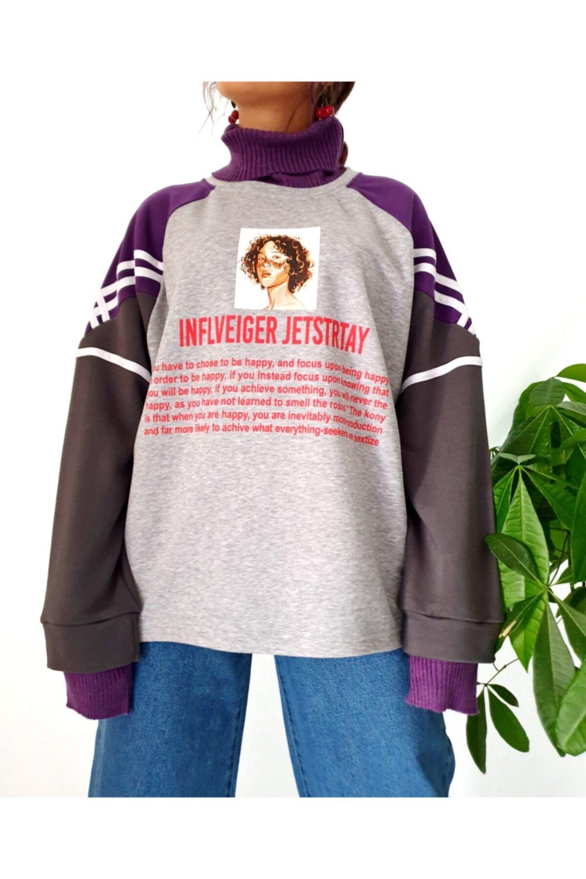 Carpe Kadın Mor Inflveiger Jetstrtay Kazak Sweatshirt 2