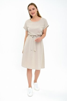 Cotton Mood Kadın Bej İkiiplik Beli Lastikli Yarasa Kol Elbise 9292931