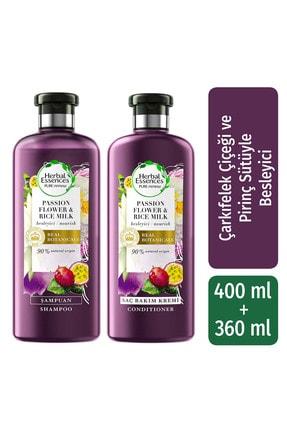 Herbal Essences Şampuan Besleyici Çarkıfelek Çiçeği Ve Pirinç Sütü 400 Ml + Saç Bakım Kremi 360 Ml