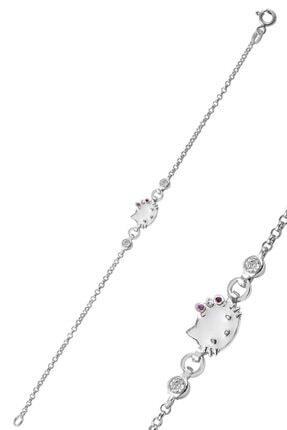 Trend Silver Kız Çocuk Gümüş 925 Ayar Beyaz Mineli  Kedi Modeli Bileklik