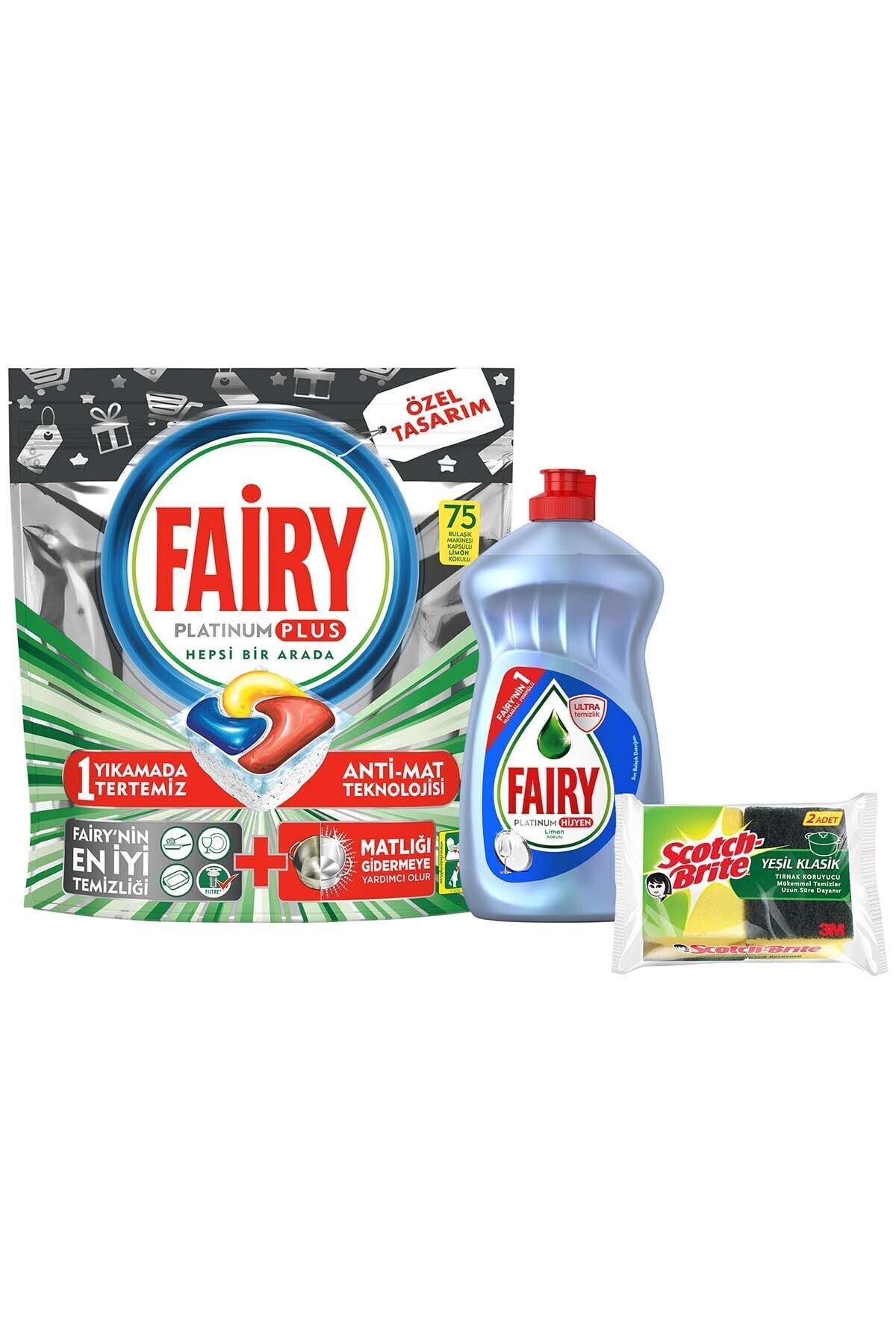 Fairy Platinum Plus 75 Yıkama Bulaşık Makinesi Kapsülü+500ml Sıvı Hijyen+sünger 2