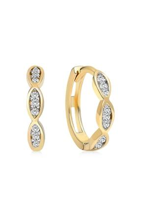 Gelin Pırlanta Kadın Altın Gelin Diamond 14 Ayar Taşlı Halka 1.2 cm Küpe