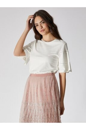Vekem Kadın Kırık Beyaz Sıfır Yaka Pamuklu Bluz 9107-0073