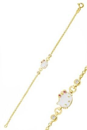 Trend Silver Altın Rengi 925 Ayar Gümüş Kız Çocuk  Kedi Modeli Bileklik