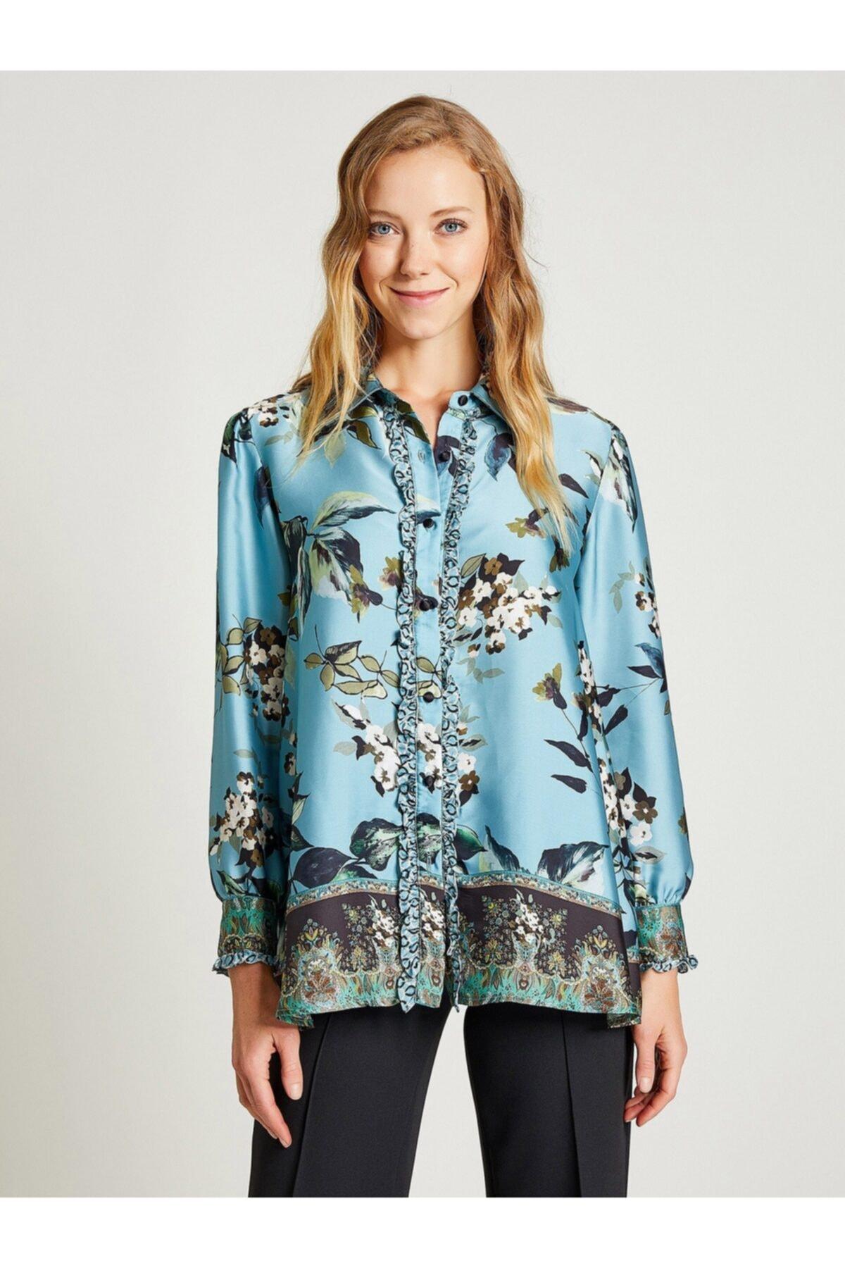Vekem Kadın Mavi Çiçek Desenli Fırfırlı Gömlek 1