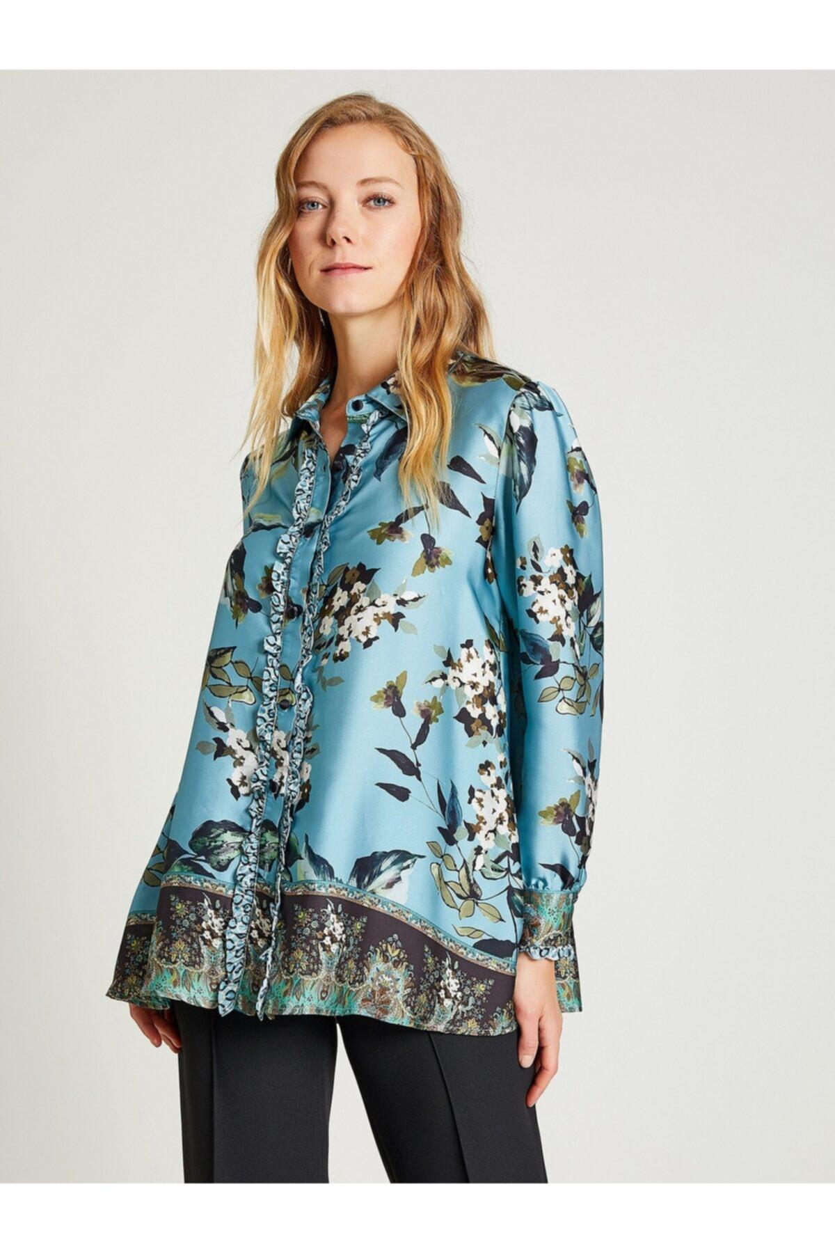 Vekem Kadın Mavi Çiçek Desenli Fırfırlı Gömlek 2