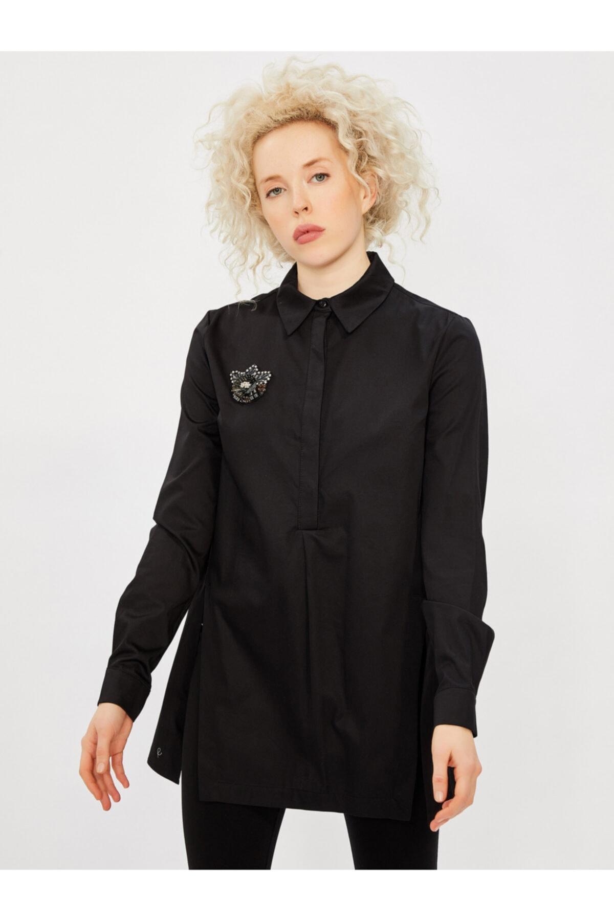 Vekem Kadın Siyah Klasik Kesim Broşlu %100 Pamuk Gömlek 1