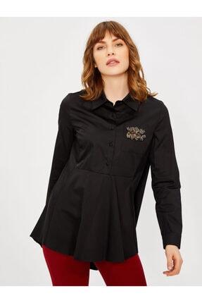 Vekem Kadın Siyah Taş Detaylı Pamuk Gömlek