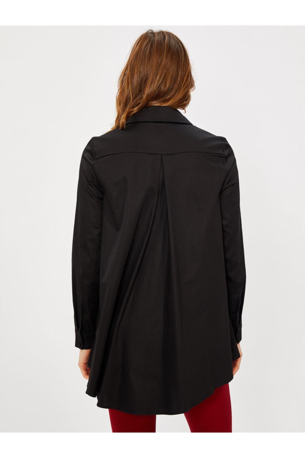 Vekem Kadın Siyah Taş Detaylı Pamuk Gömlek 2