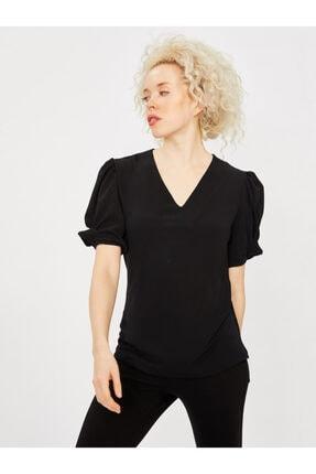 Vekem Kadın Siyah V Yaka Kolu Lastikli Bluz