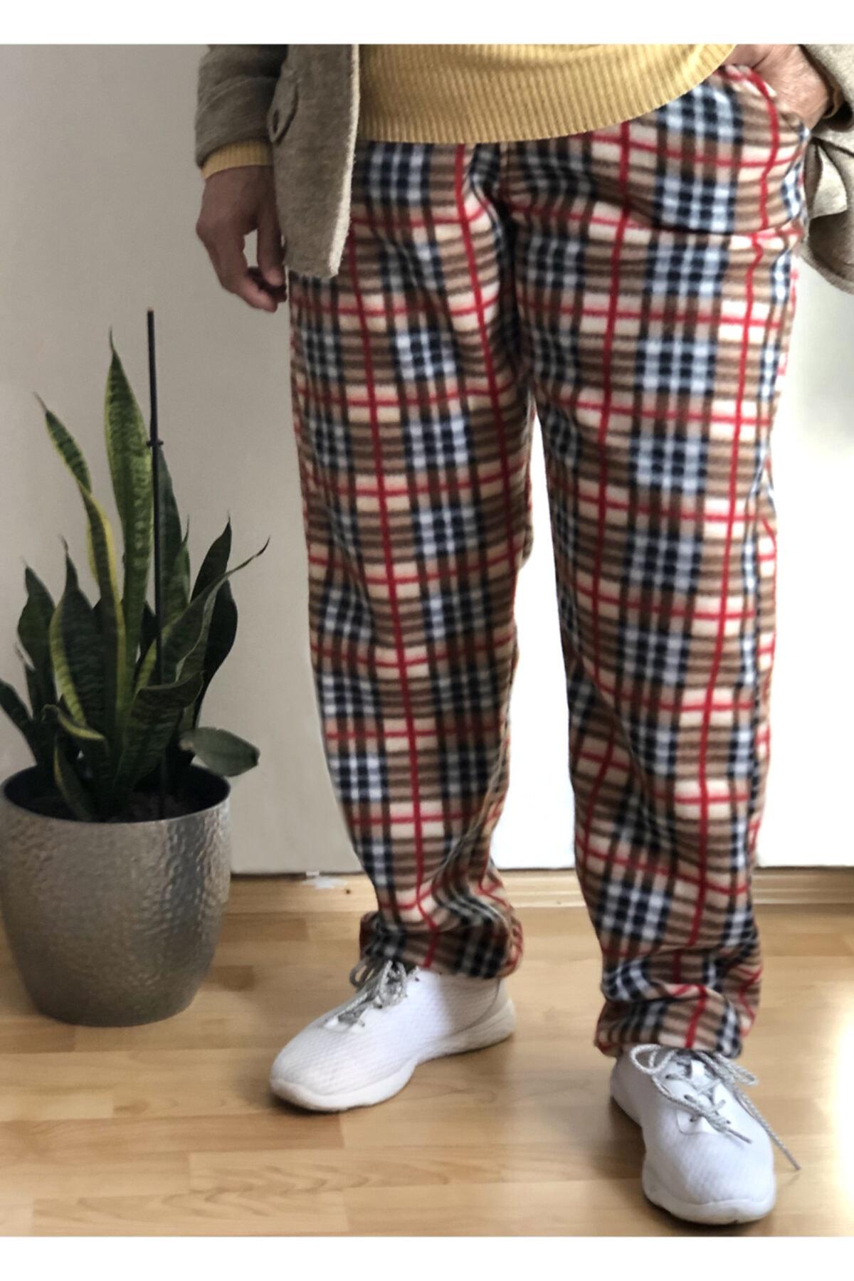sinans moda Kadın Kahverengi Polar Desenli Pijama Altı 1