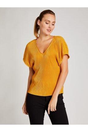 Vekem Kadın Sarı V Yaka Pliseli Bluz 8207-0221