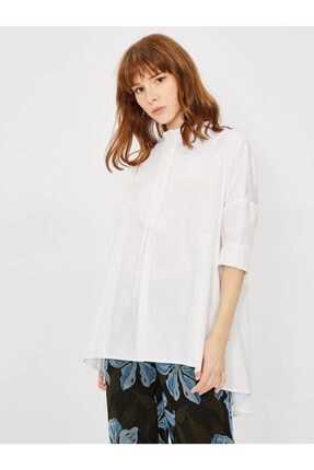Vekem Kadın Beyaz Rahat Kesim Pamuk Gömlek