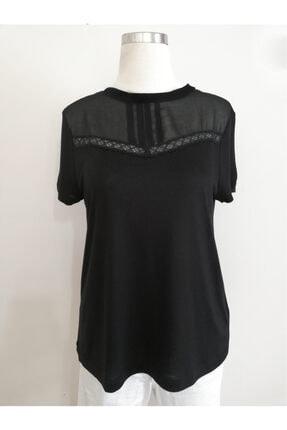 Vekem Kadın Siyah Sıfır Yaka Dantel Detaylı Bluz 9107-0089