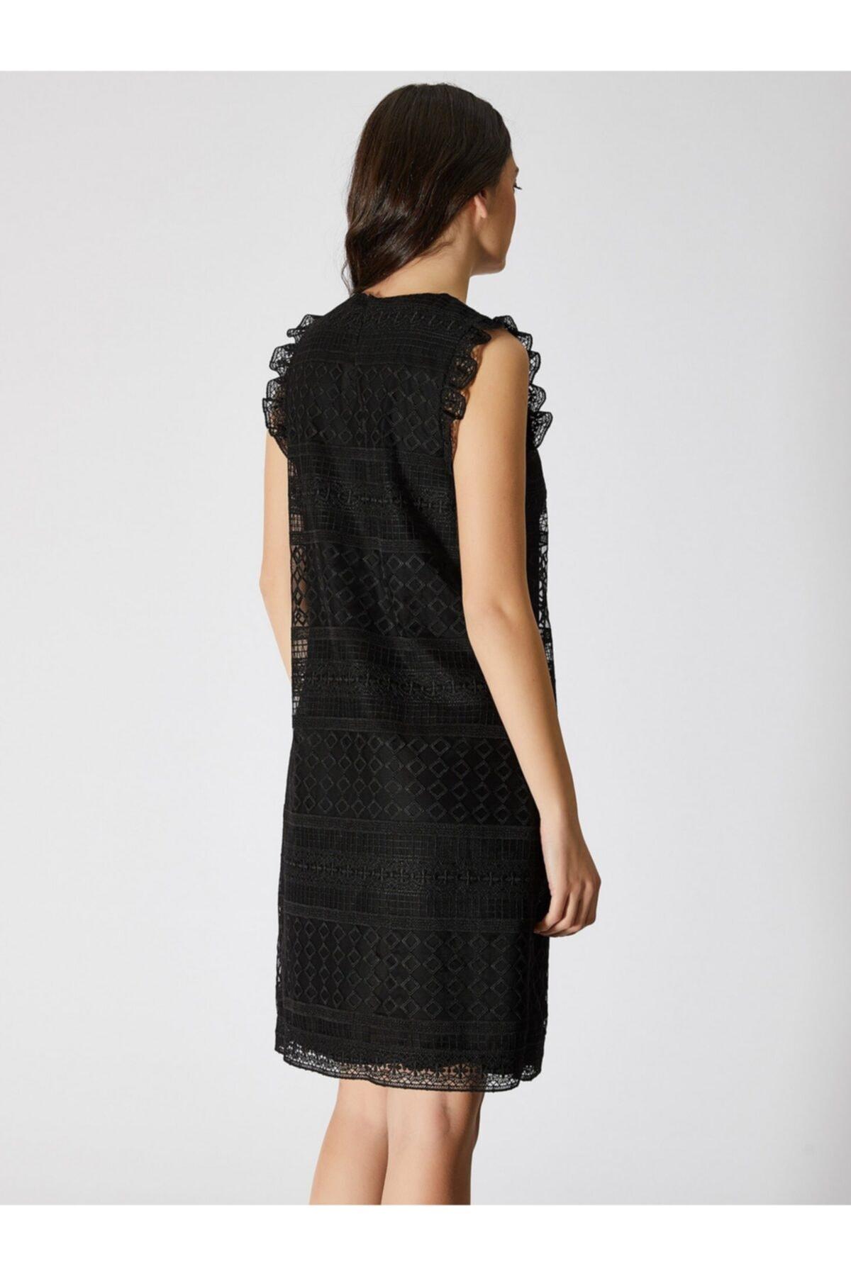 Vekem Kadın Siyah Kolsuz Dantel Elbise 9109-0083 2