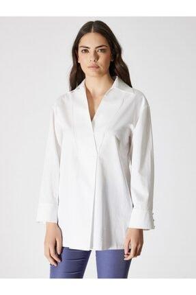 Vekem Kadın Beyaz Uzun Kollu Pamuklu Bluz