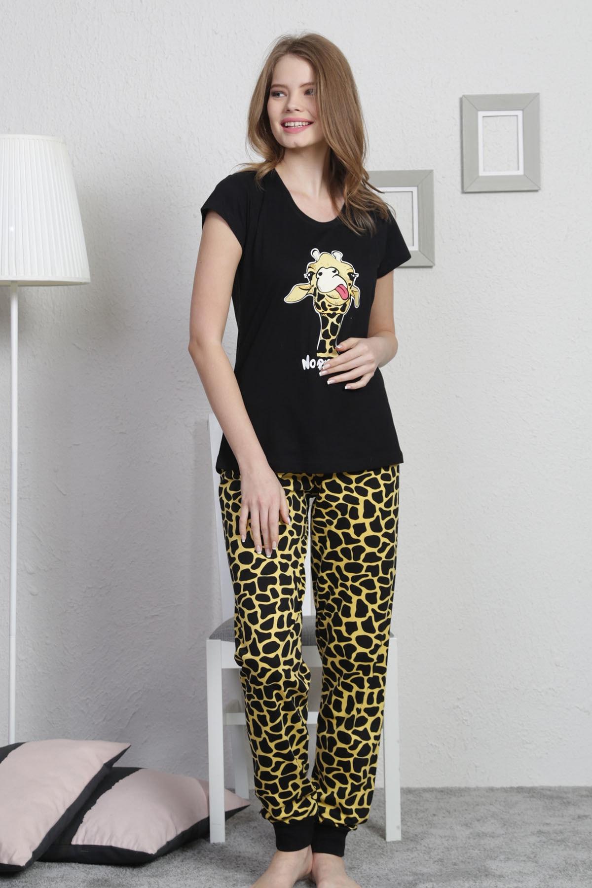 VİENETTA Kadın Siyah Kısa Kol Normal Beden Baskılı Desen Pijama Takım 1