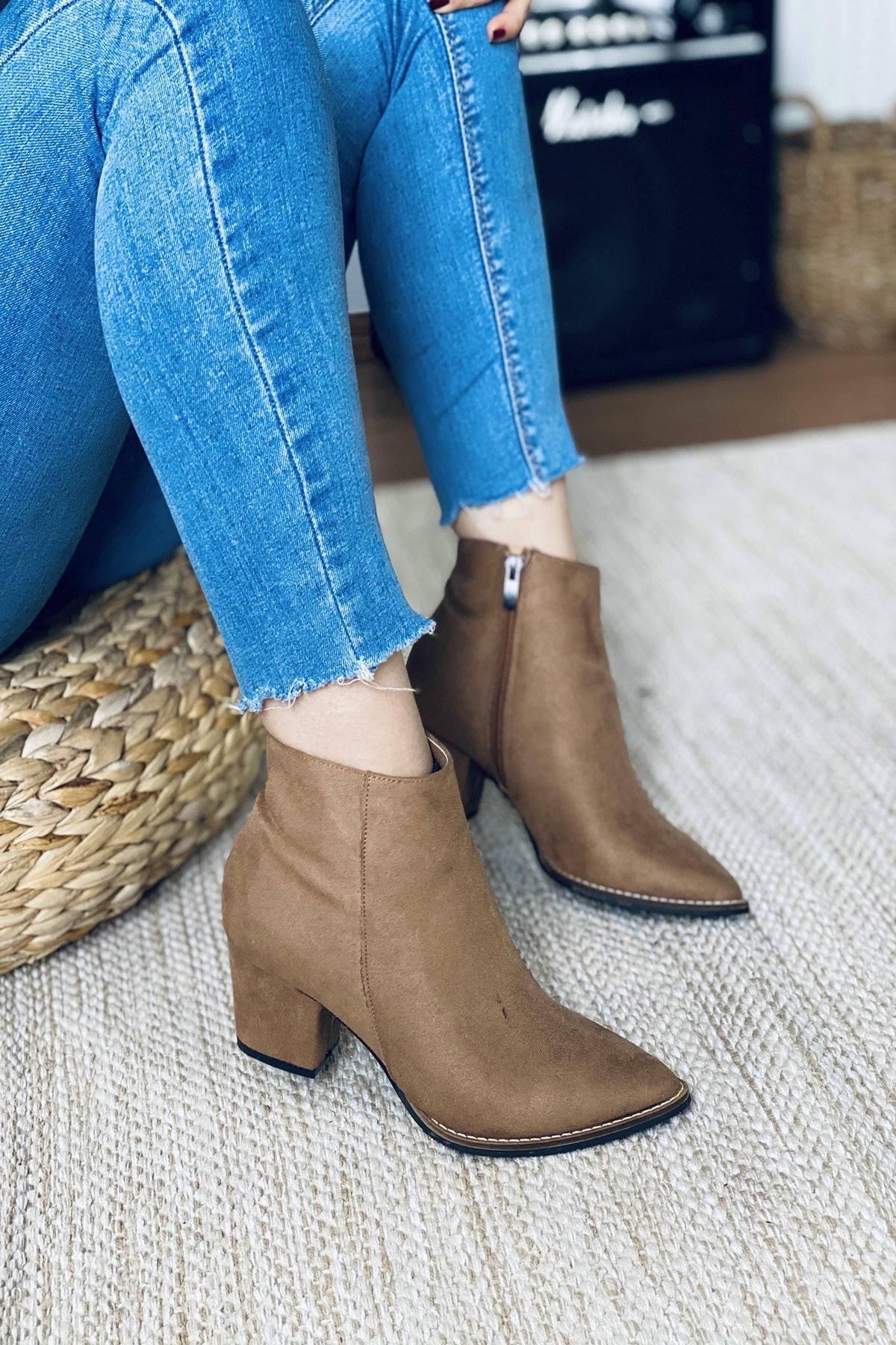 Mida Shoes Kadın Vizon Süet Sivri Burun Yarım Çizme 2