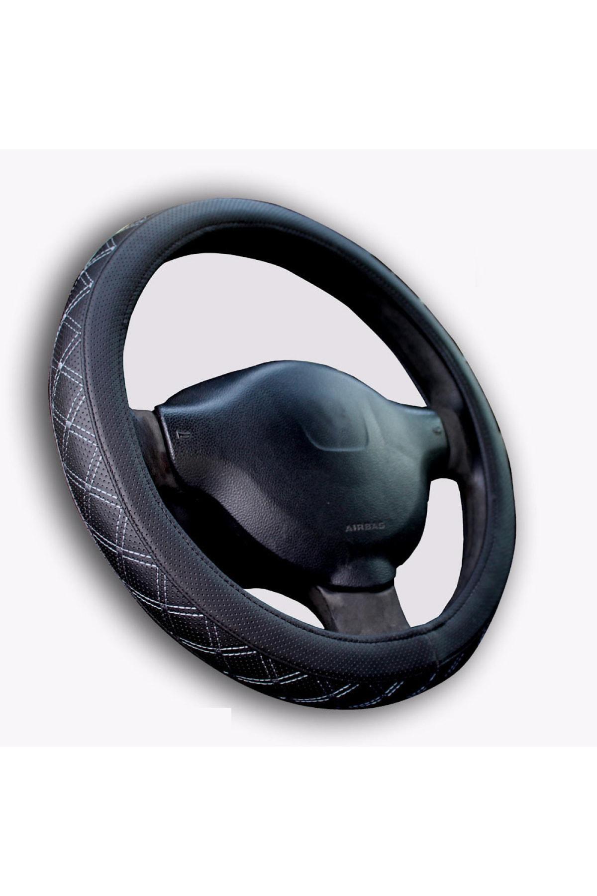GARDENAUTO Renault Megane 2002-2009 A Kalite Geçmeli Direksiyon Kılıfı Gri Nakışlı 1