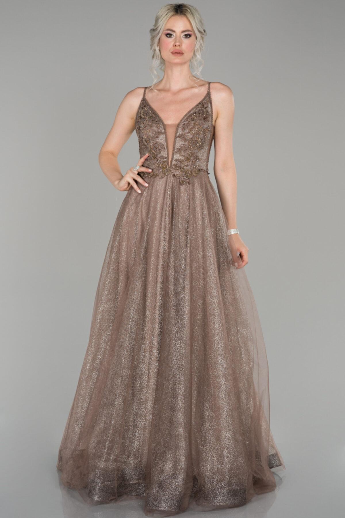Abiyefon Kadın Bakır Güpürlü Boncuk Detaylı Prenses Abiye Elbise 1