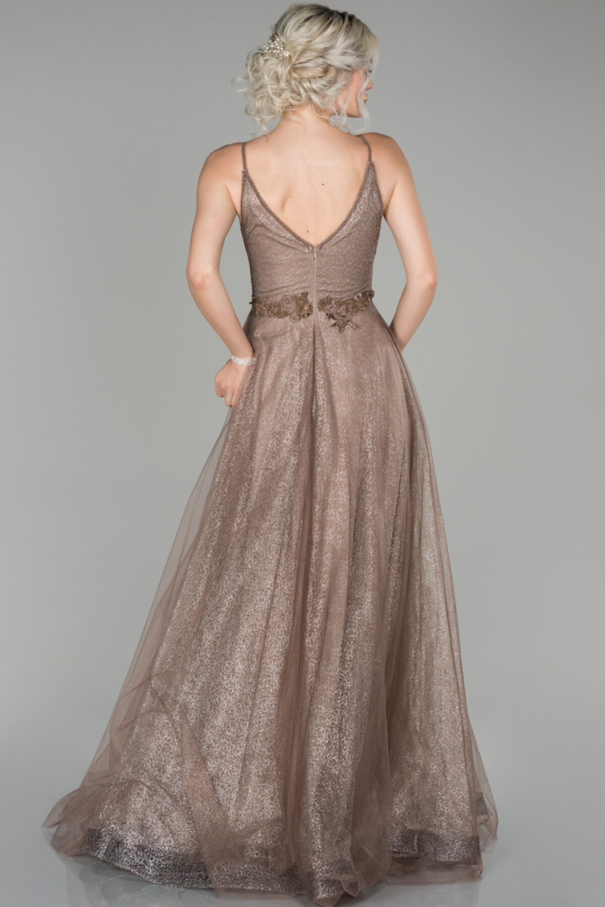 Abiyefon Kadın Bakır Güpürlü Boncuk Detaylı Prenses Abiye Elbise 2