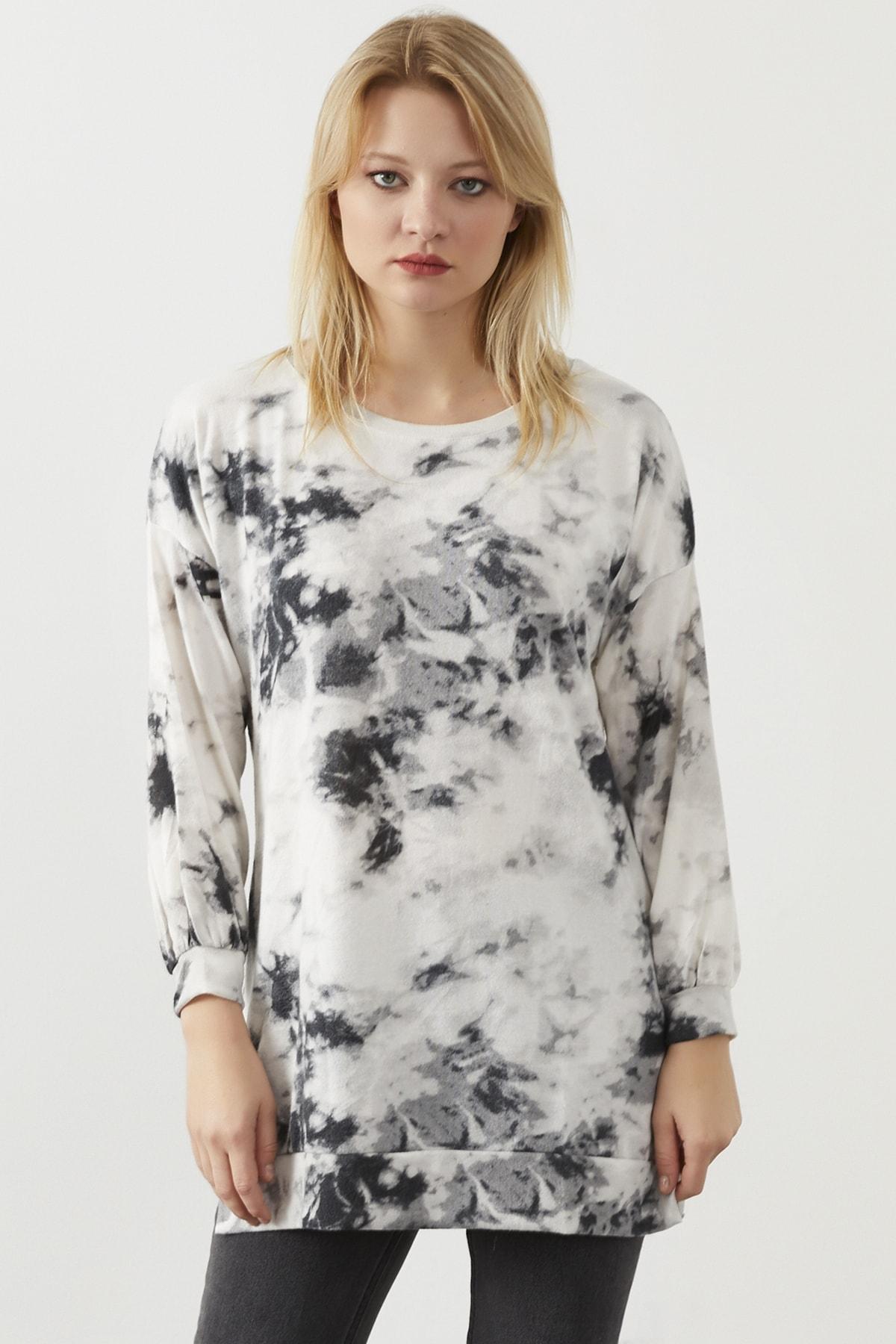 ELBİSENN Kadın Beyaz Yıkama Kumaş Sweatshirt 1