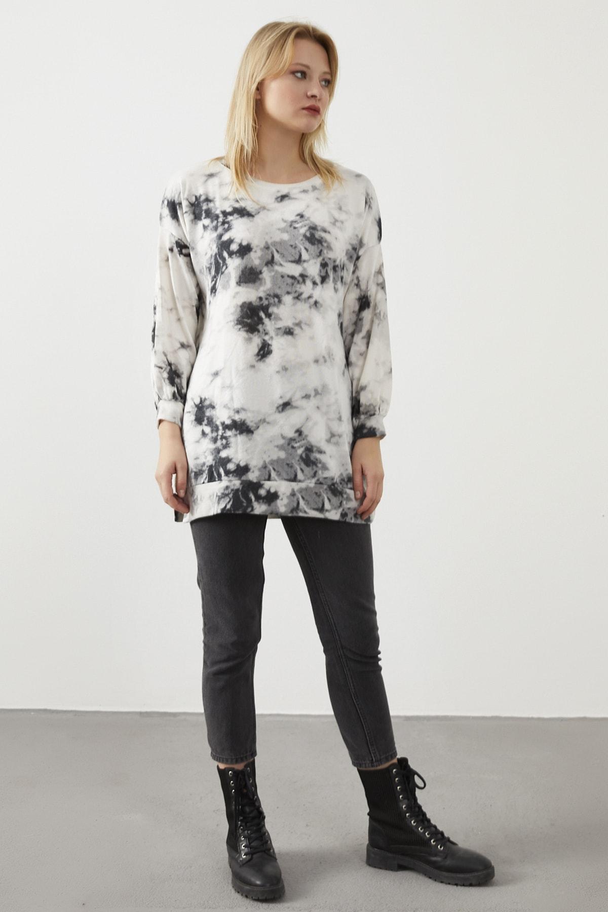 ELBİSENN Kadın Beyaz Yıkama Kumaş Sweatshirt 2