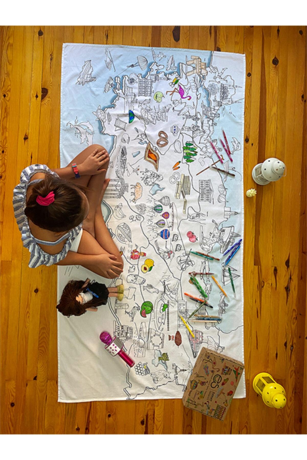 ES Sanat Tasarım Map'es Türkiye Haritası Masa Örtüsü 70x120cm 12'li Stabilo Kalemle 1