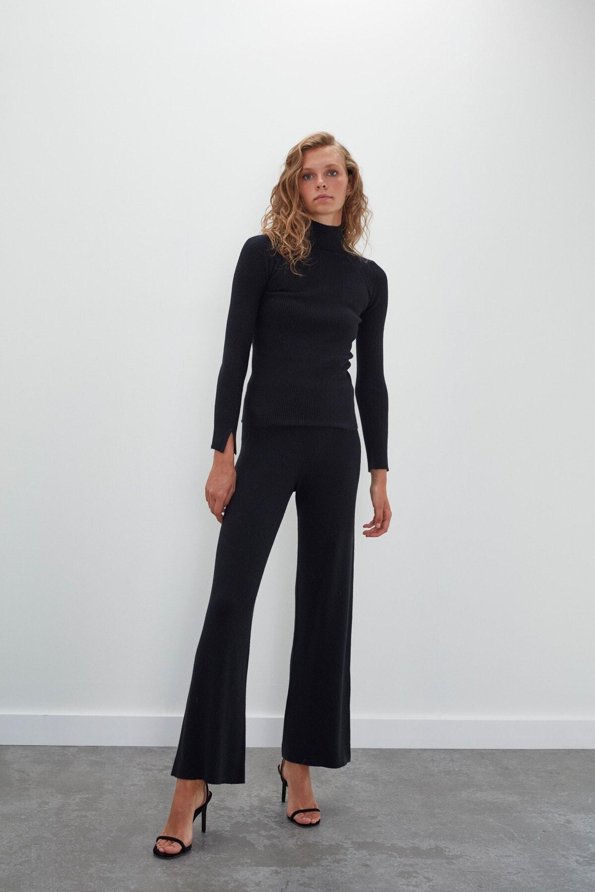 JOIN US Kadın Siyah Dikişsiz Ribana Beli Lastikli Triko Pantolon 2