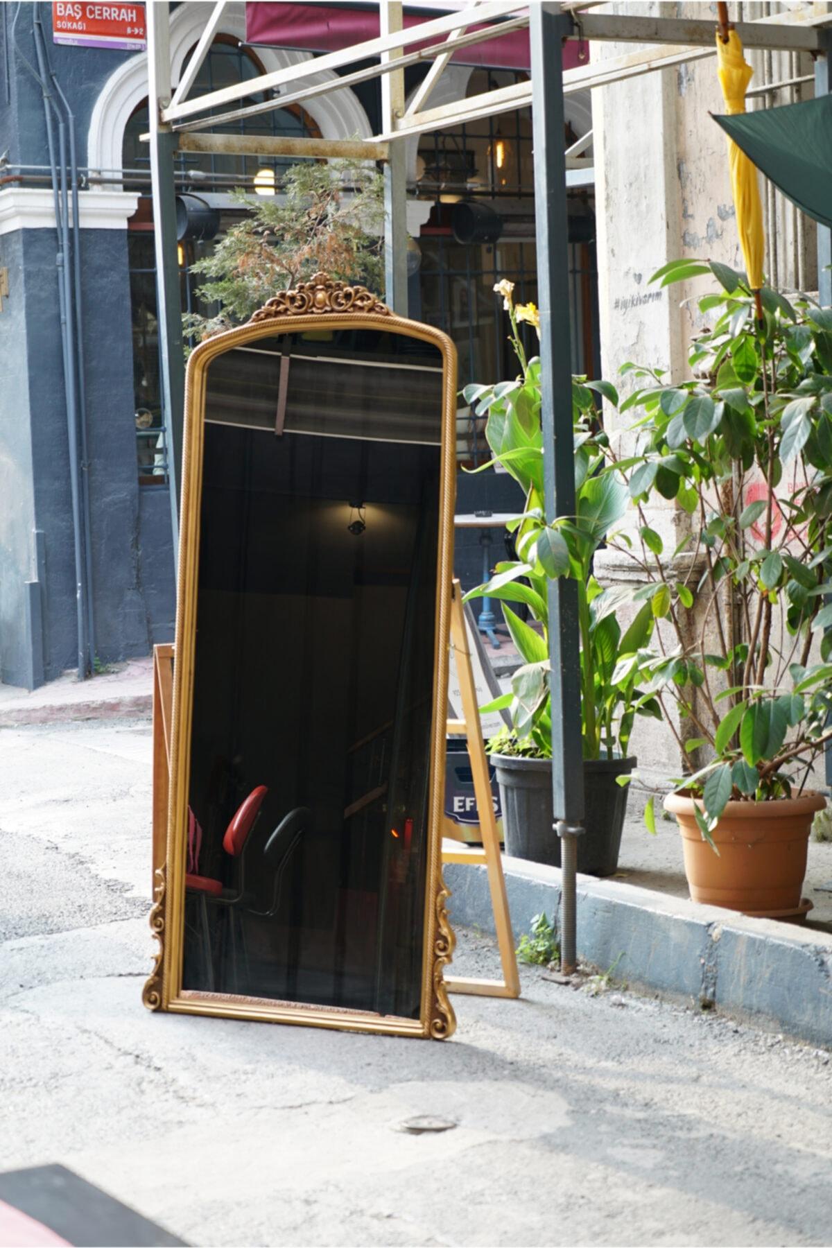 Pekçokçeşit Varaklı Dekoratif Ayaklı Boy Aynası Salon Ofis Mağaza 190x90 2