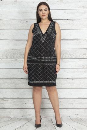 Şans Kadın Siyah Taş Detaylı Abiye Elbise 65N20415
