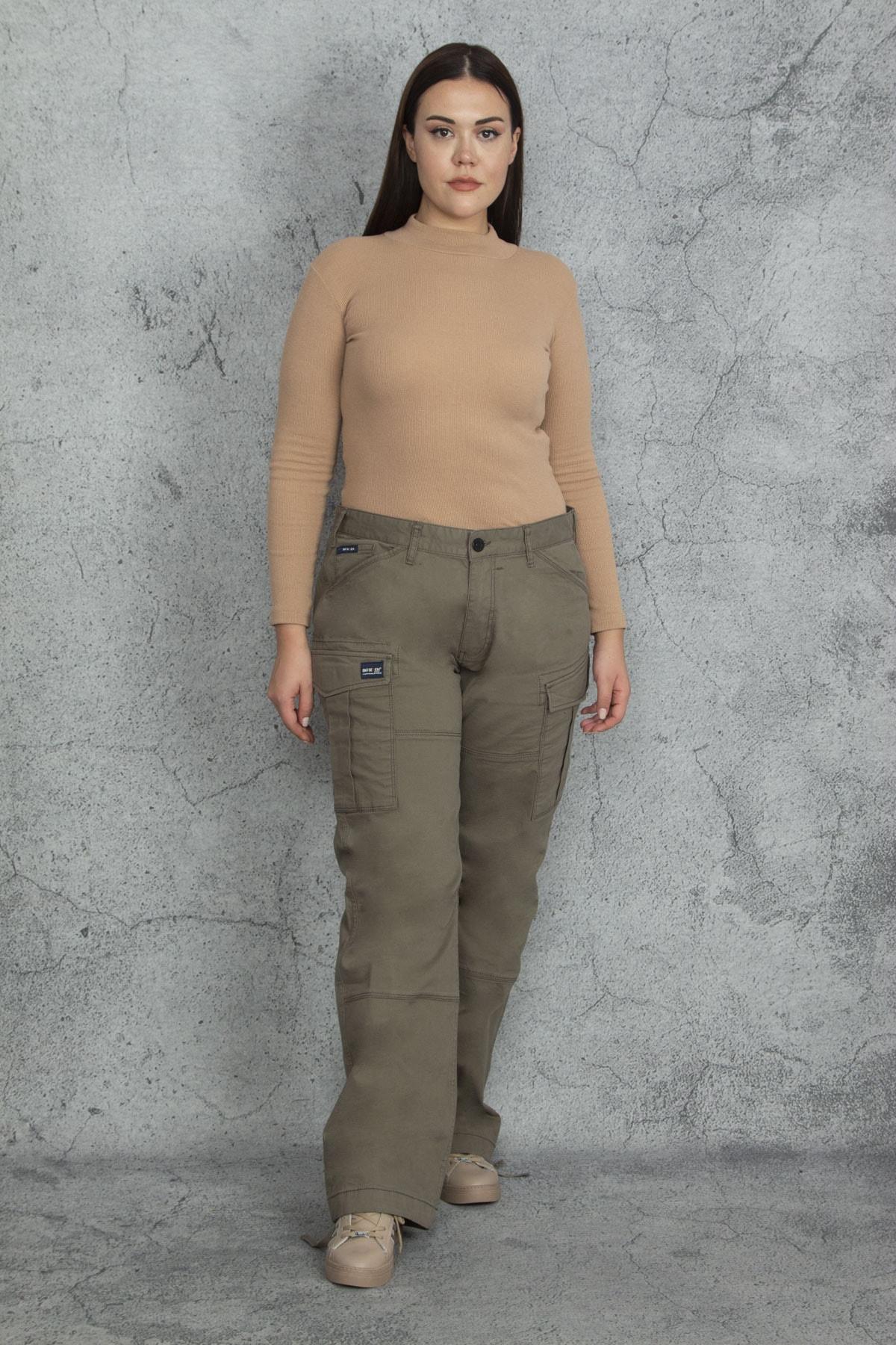 Şans Kadın Haki Diz Detaylı Paça Bağcıklı Cepli Kargo Pantolon 65N20544 1