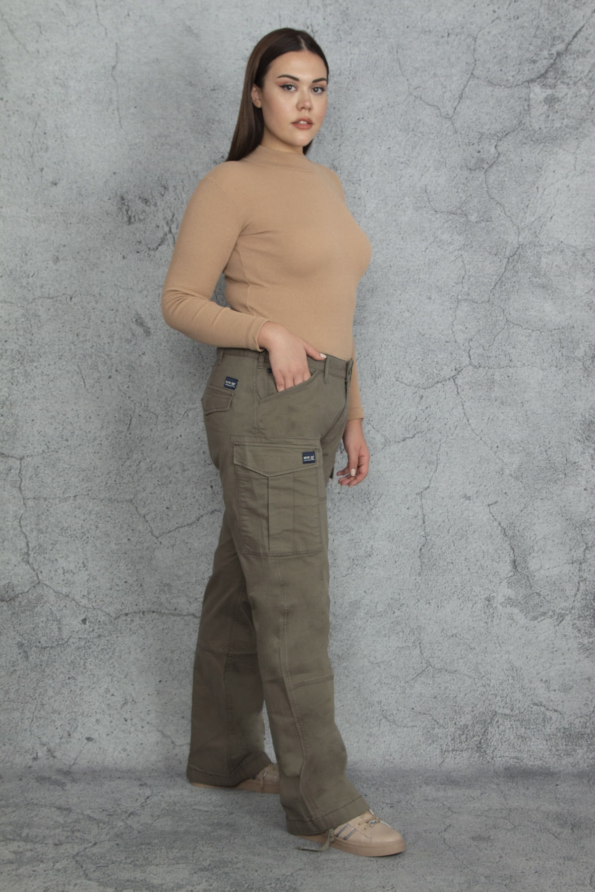 Şans Kadın Haki Diz Detaylı Paça Bağcıklı Cepli Kargo Pantolon 65N20544 2