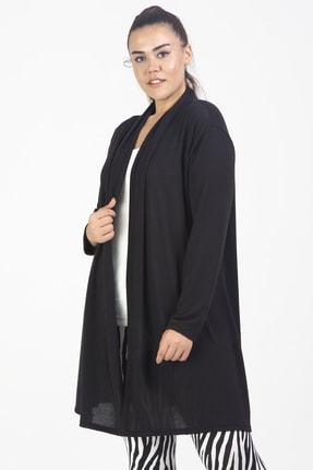 Şans Kadın Siyah Çilek Kumaş Hırka 65N20630