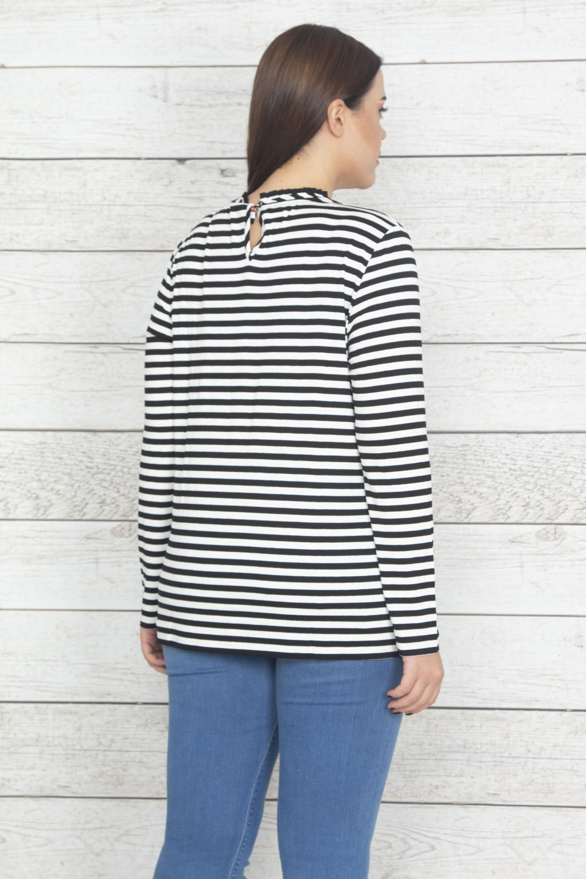 Şans Kadın Siyah Çizgi Detaylı Bluz 65N20374 2