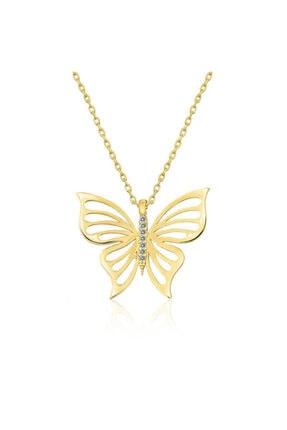 Gumush ?gümüş Gold Bahar Kelebeği Bayan Kolye