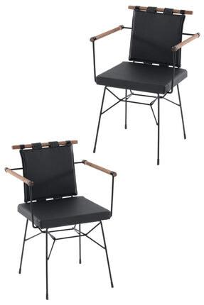 Mars Mobilya Penyez 2'li Siyah Tel Sandalye