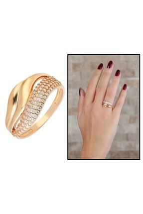 Tesbihane Zirkon Taşlı Wave Tasarım Rose Renk 925 Ayar Gümüş Bayan Yüzük