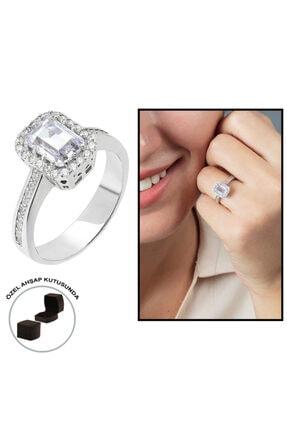 Tesbihane Starlight Diamond Pırlanta Montür Zarif Tasarım 925 Ayar Gümüş Bayan Baget Yüzük