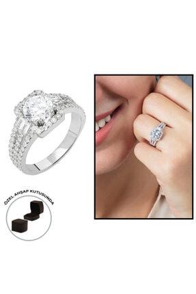 Tesbihane Starlight Diamond Pırlanta Montür Efektli 925 Ayar Gümüş Bayan Baget Yüzük