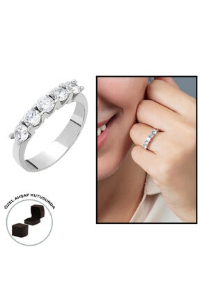 Tesbihane Starlight Diamond Pırlanta Montür Mini Tasarım 925 Ayar Gümüş Bayan Beştaş Yüzük