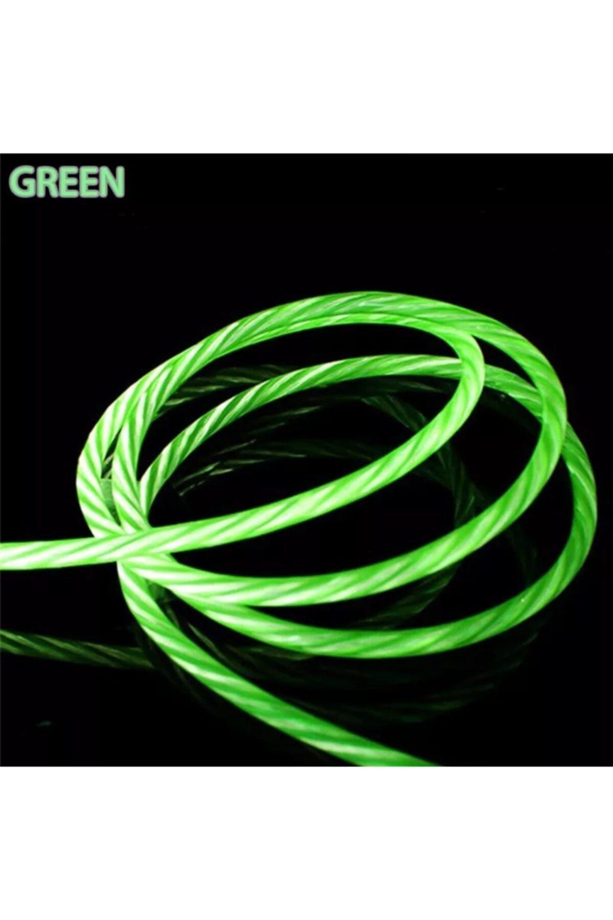 ucuzmi Iphone Lighting Full Işıklı Hareketli Hızlı Şarj Kablo 60w 3.0a Yüksek Kalite Renk:yeşil 2