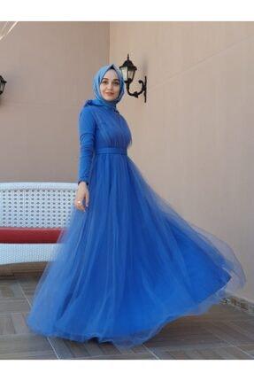 tesetturyeri Kadın Mavi Tül Abiye Elbise